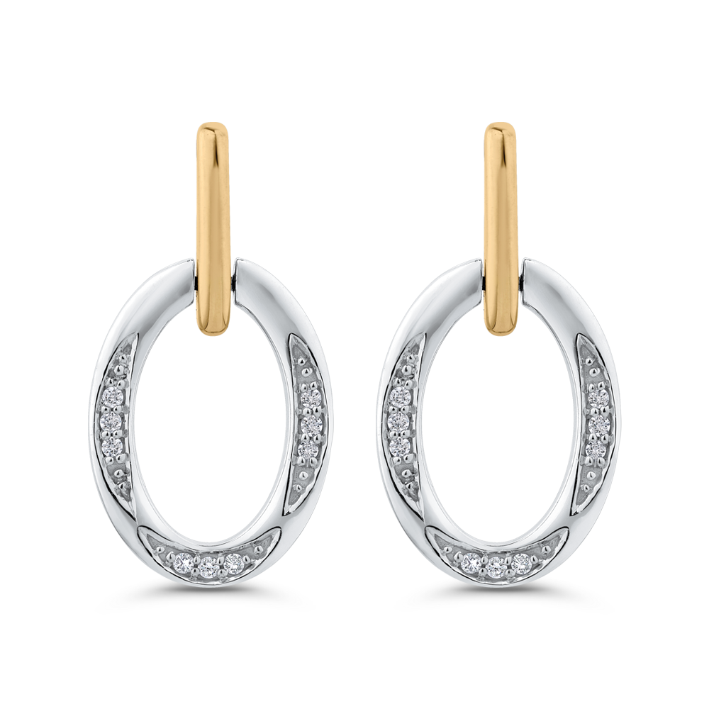 EA0753T-25WY Fashion Jewelry Carizza Fashion White Gold Yellow Gold Diamond Earrings
