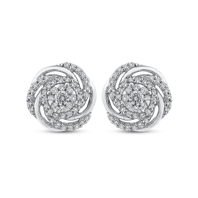 EA0756-42W Fine Jewelry Luminous by Carizza White Gold Round Diamond Cluster Sets Earrings