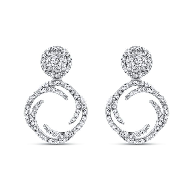 EA0757T-42W Fine Jewelry Luminous by Carizza White Gold  Diamond Cluster Sets Earrings