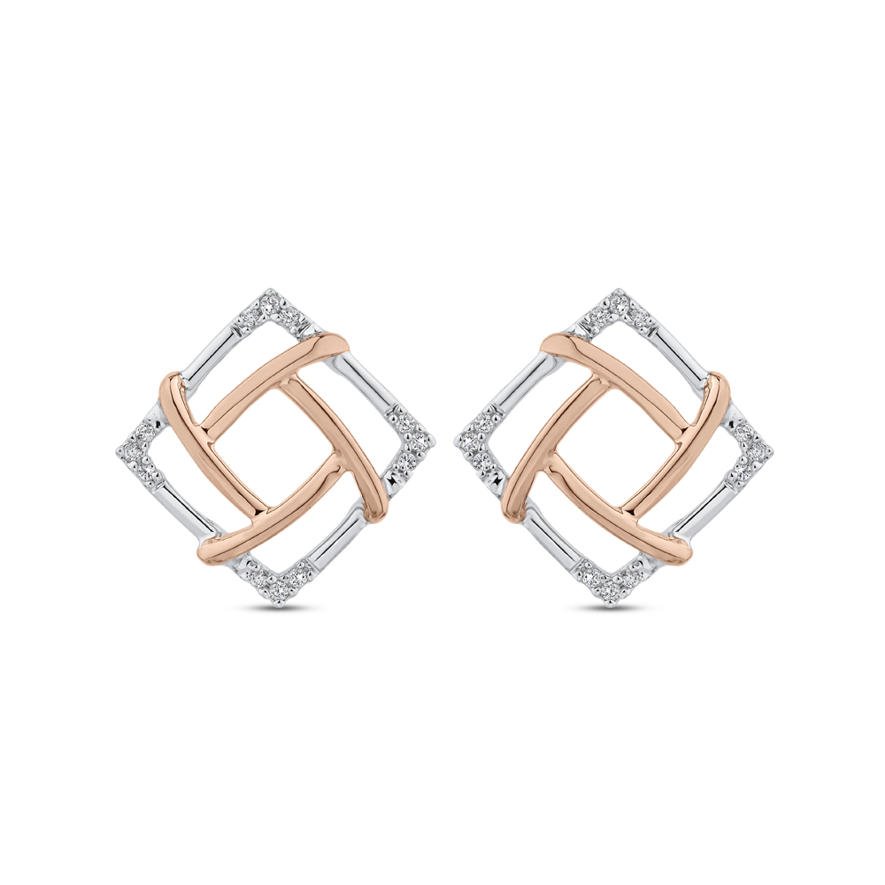 EA0807T-09WP Fashion Jewelry Carizza Fashion White Gold Rose Gold Yellow Gold Round Diamond Earrings Stud Earrings