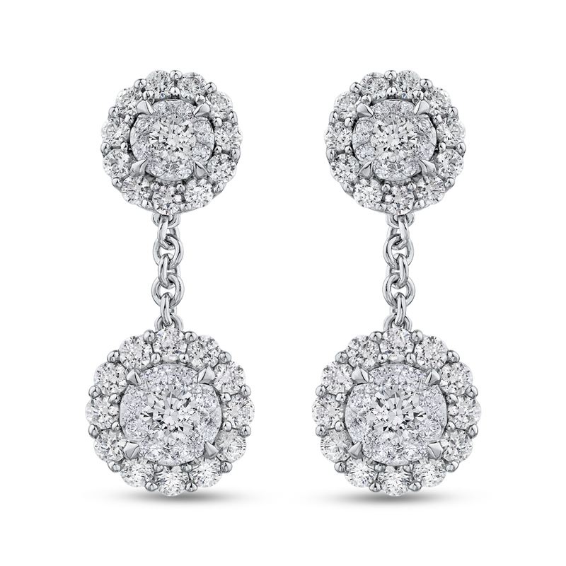 EA0813T-42W Fine Jewelry Luminous by Carizza White Gold Round Diamond Cluster Sets Earrings