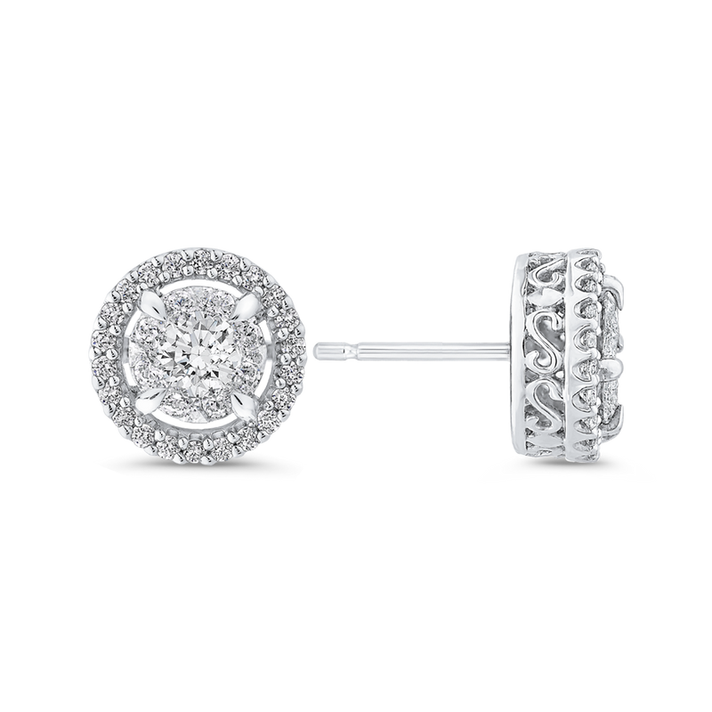 10K White Gold Round 3/4 ct Diamond Double Halo Stud Earrings