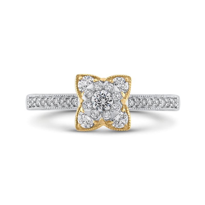 ES0883ECT-42WY Fine Jewelry Luminous by Carizza White Gold  Rose Gold  Yellow Gold Round Diamond Cluster Sets Fashion Rings