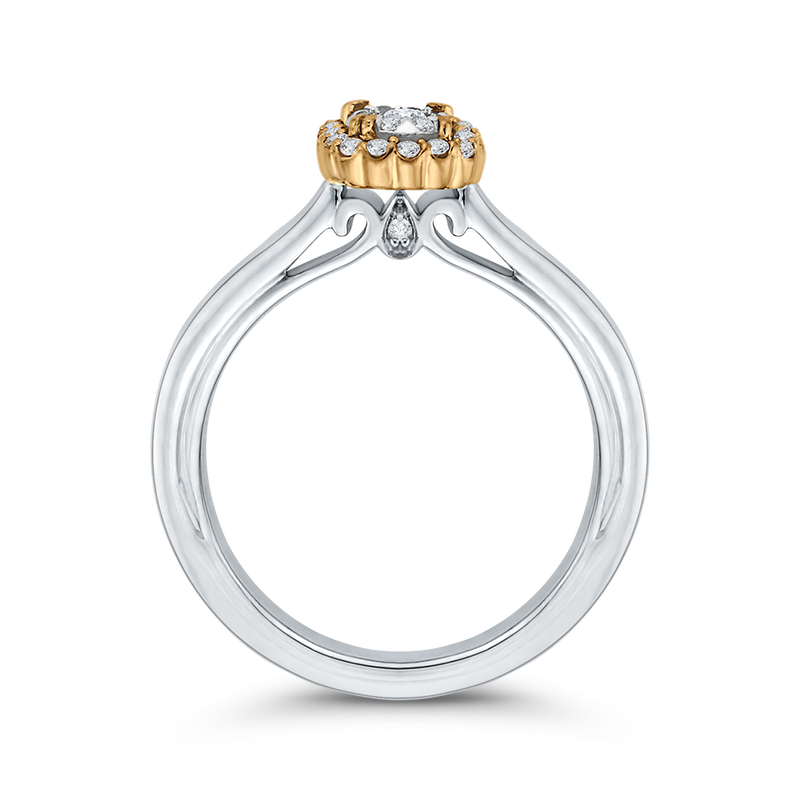 10K Two Tone Gold 1/4 ct Round White Diamond Double Halo Fashion Ring