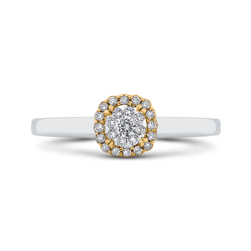 ES0884ECT-42WY Fine Jewelry Luminous by Carizza White Gold  Rose Gold  Yellow Gold Round Diamond Double Halo Halo Fashion Rings