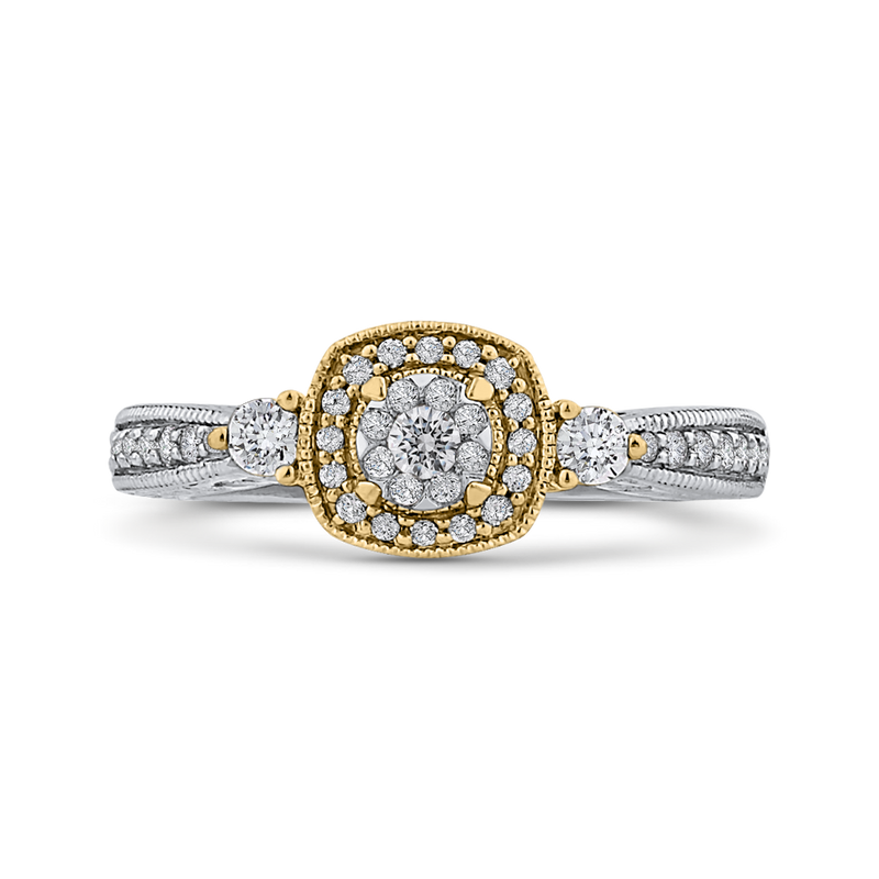 ES0885ECT-42WY Fine Jewelry Luminous by Carizza White Gold  Rose Gold  Yellow Gold Round Diamond Cluster Sets Fashion Rings