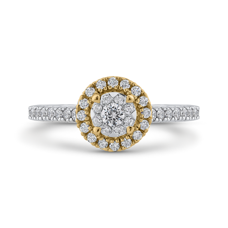 ES0886ECT-42WY Fine Jewelry Luminous by Carizza White Gold  Rose Gold  Yellow Gold Round Diamond Double Halo Halo Fashion Rings