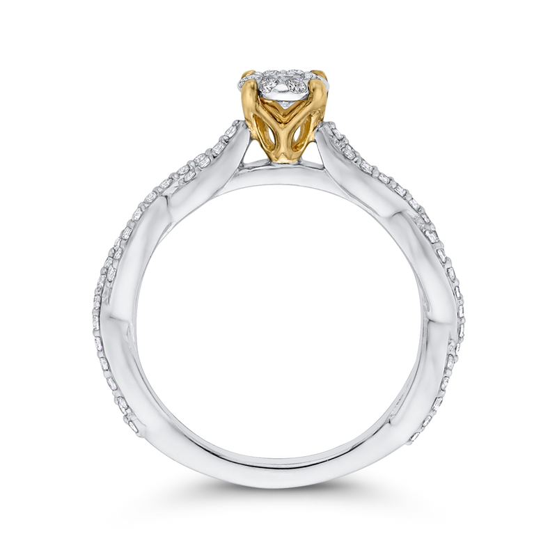 10K Two Tone Gold 1/2 ct Round White Diamond Halo Fashion Ring