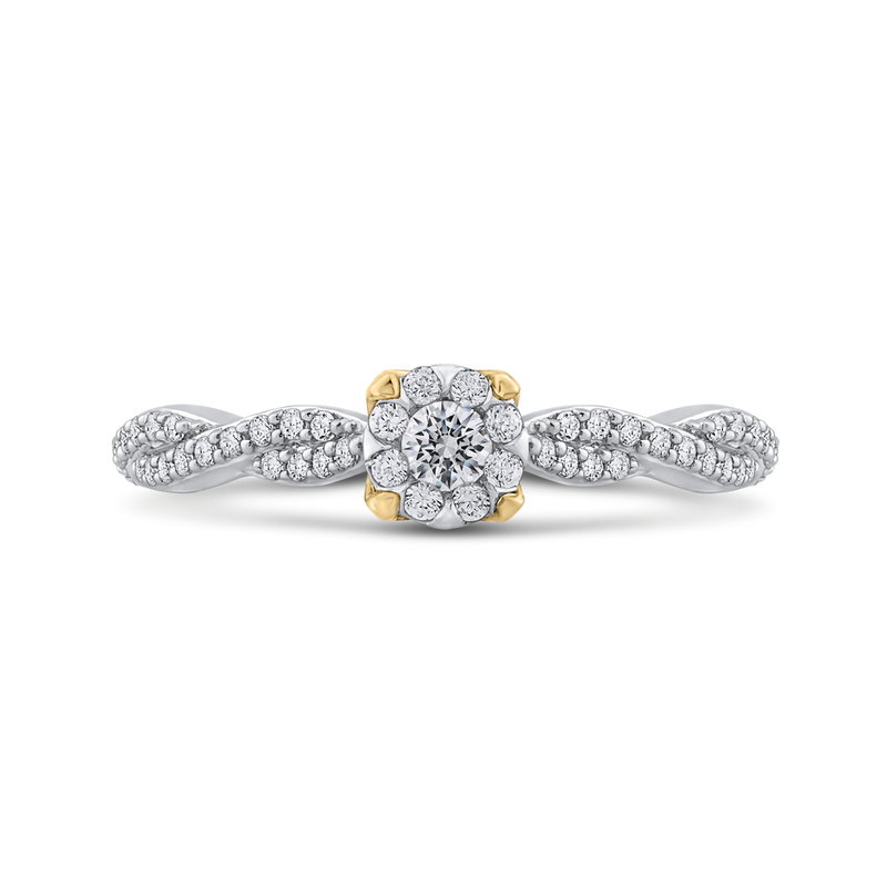 ES0888ECT-42WY Fine Jewelry Luminous by Carizza White Gold  Rose Gold  Yellow Gold Round Diamond Halo Fashion Rings