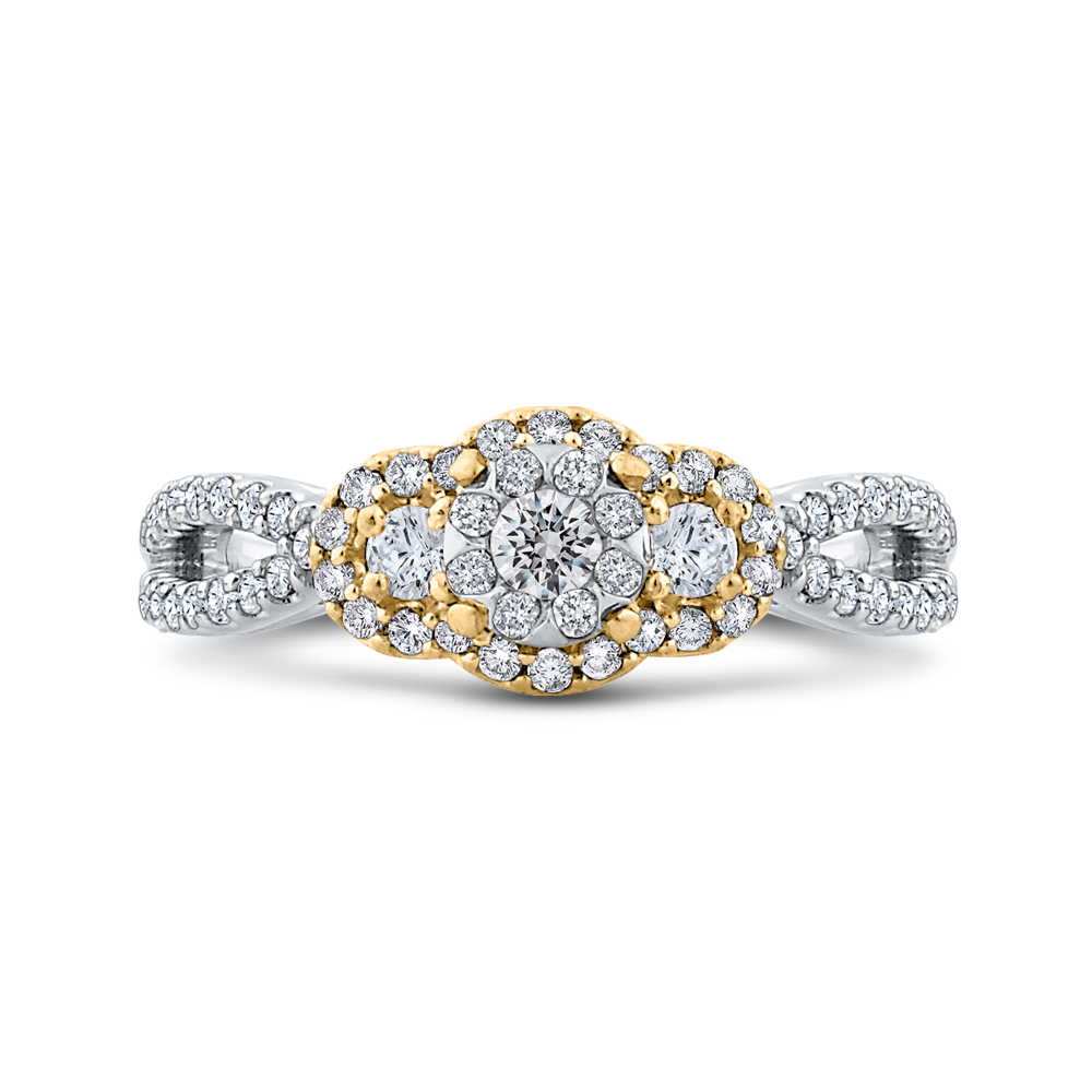 ES0889ECT-42WY Fine Jewelry Luminous by Carizza White Gold  Rose Gold  Yellow Gold Round Diamond Cluster Sets Fashion Rings