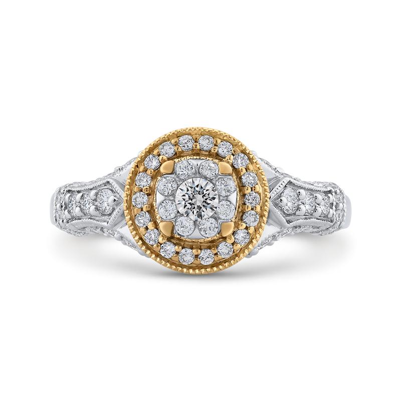 ES0891ECT-42WY Fine Jewelry Luminous by Carizza White Gold  Rose Gold  Yellow Gold Round Diamond Double Halo Halo Fashion Rings