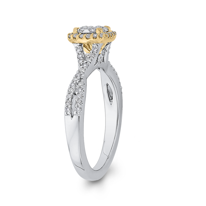 10K Two Tone Gold 1/2 ct Round Diamond Crossover Shank Fashion Ring