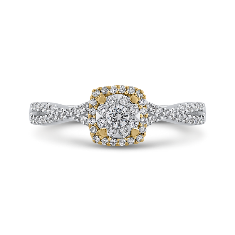 ES0892ECT-42WY Fine Jewelry Luminous by Carizza White Gold  Rose Gold  Yellow Gold Round Diamond Cluster Sets Fashion Rings