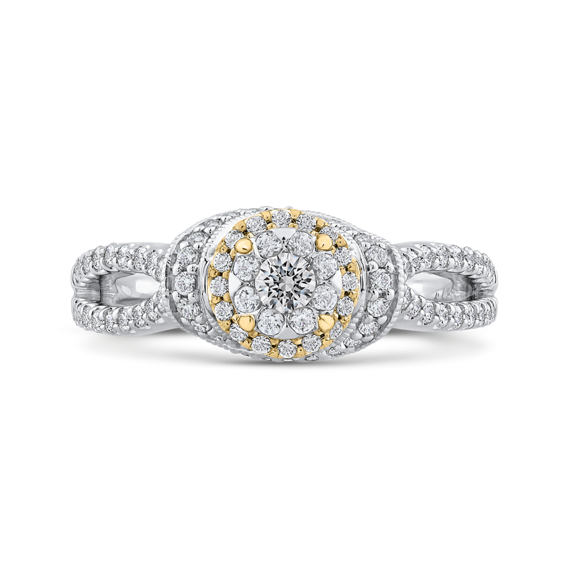 ES0893ECT-42WY Fine Jewelry Luminous by Carizza White Gold  Rose Gold  Yellow Gold Round Diamond Cluster Sets Fashion Rings
