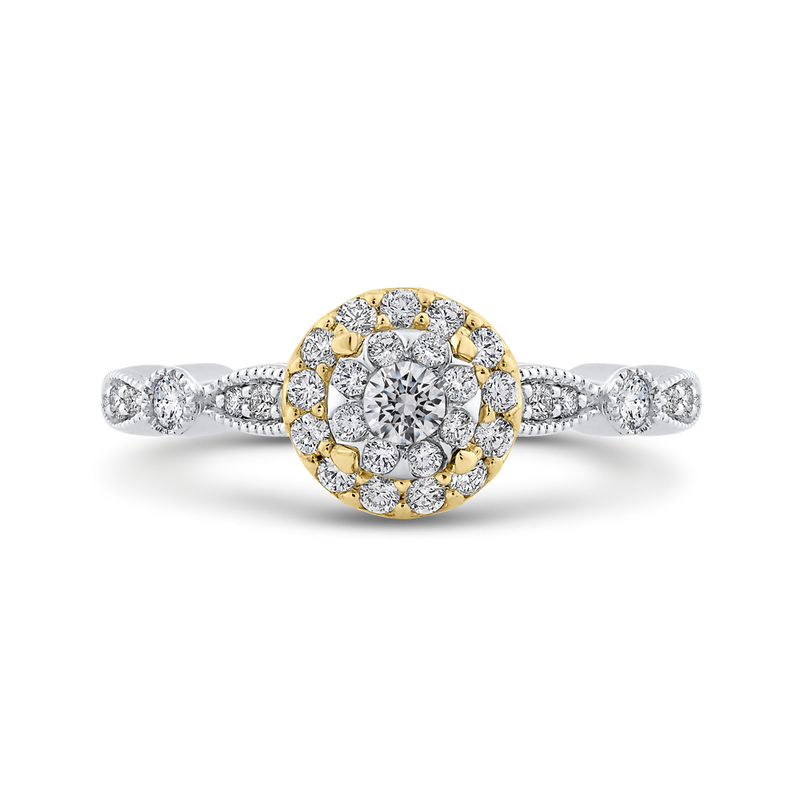 ES0894ECT-42WY Fine Jewelry Luminous by Carizza White Gold  Rose Gold  Yellow Gold Round Diamond Double Halo Halo Fashion Rings