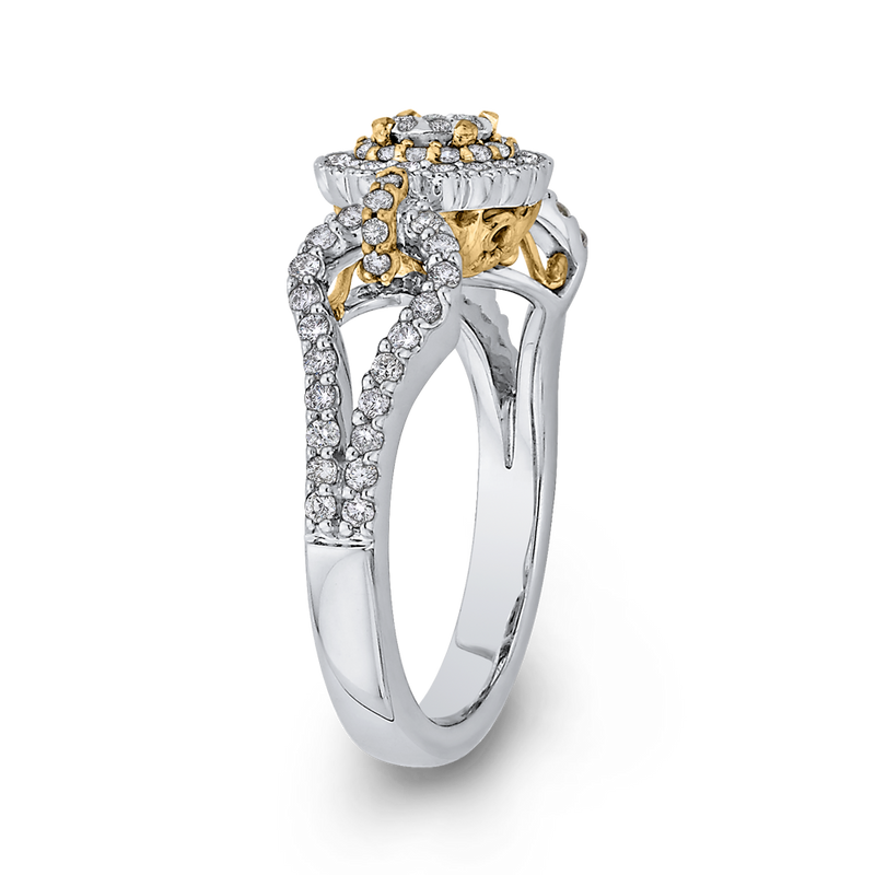 10K Two Tone Gold 5/8 ct Round White Diamond Fashion Ring