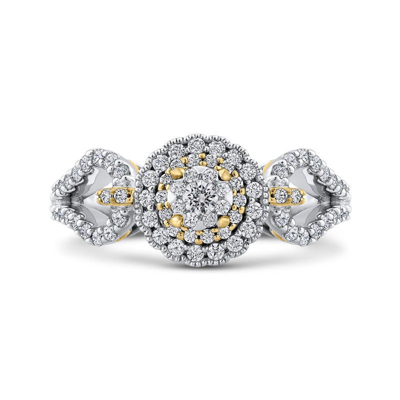ES0898ECT-42WY Fine Jewelry Luminous by Carizza White Gold  Rose Gold  Yellow Gold Round Diamond Cluster Sets Fashion Rings