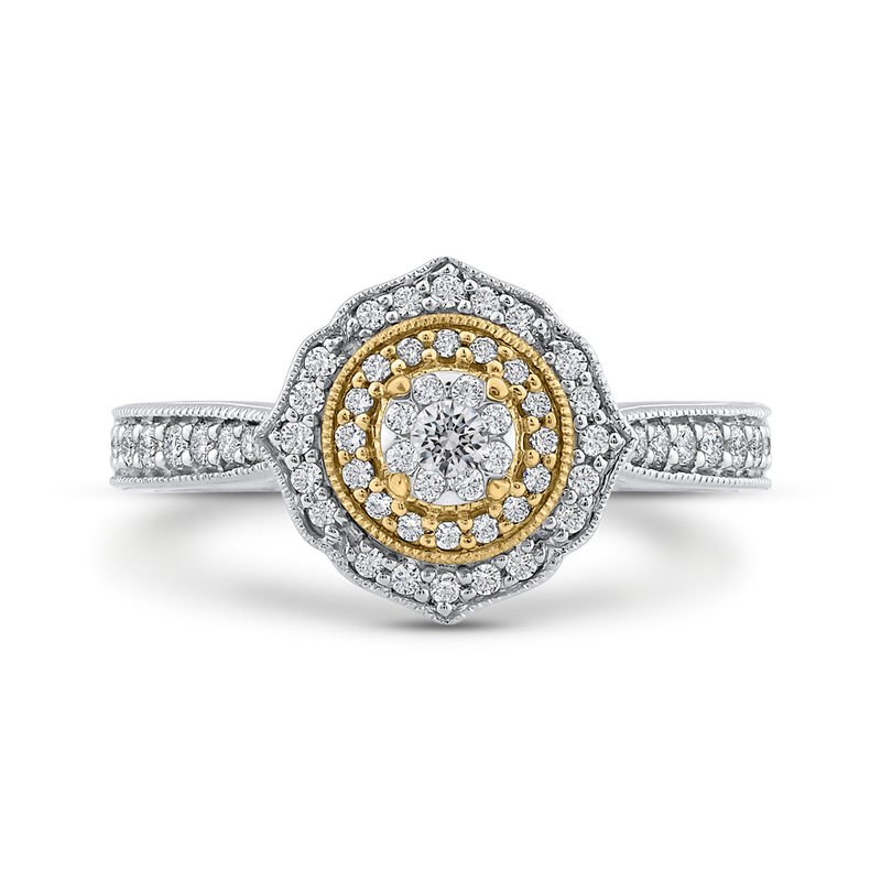 10K Two Tone Gold 2/3 ct Round Diamond Fashion Ring