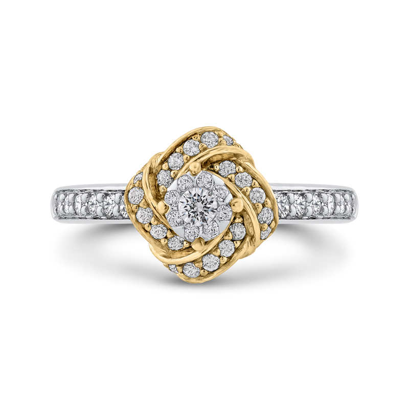 10K Two Tone Gold 3/4 ct Round Diamond Fashion Ring
