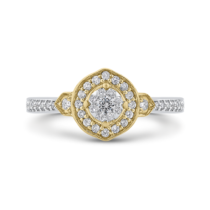 ES0903ECT-42WY Fine Jewelry Luminous by Carizza White Gold  Rose Gold  Yellow Gold Round Diamond Cluster Sets Fashion Rings