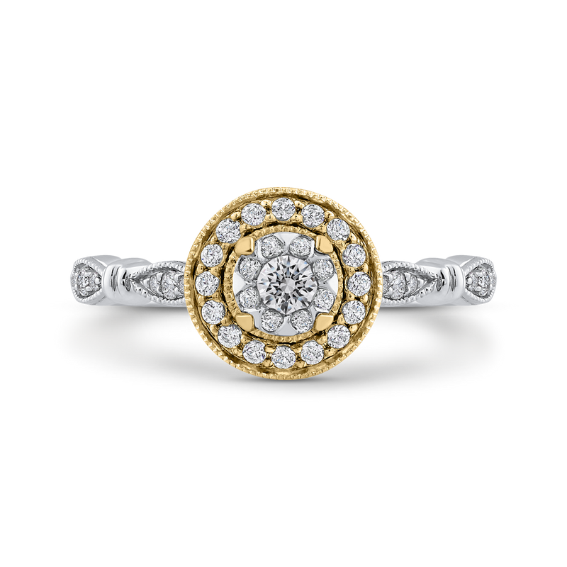 ES0904ECT-42WY Fine Jewelry Luminous by Carizza White Gold  Rose Gold  Yellow Gold Round Diamond Double Halo Halo Fashion Rings