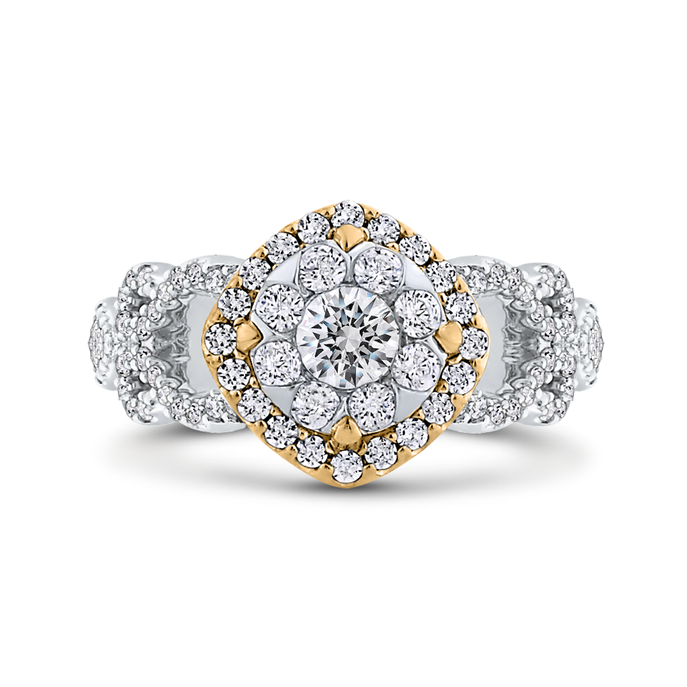 ES0906ECT-42WY Fine Jewelry Luminous by Carizza White Gold  Rose Gold  Yellow Gold Round Diamond Cluster Sets Fashion Rings