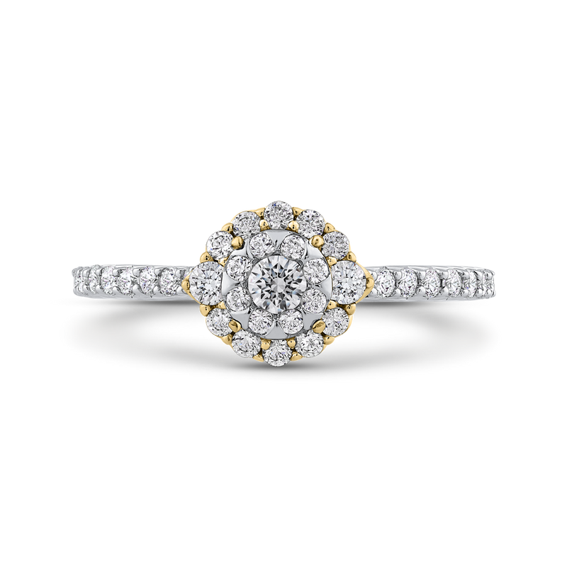 ES0909ECT-42WY Fine Jewelry Luminous by Carizza White Gold  Rose Gold  Yellow Gold Round Diamond Double Halo Halo Fashion Rings