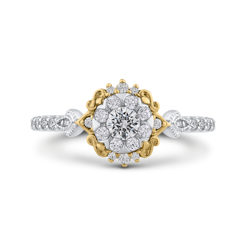 ES0910ECT-42WY Fine Jewelry Luminous by Carizza White Gold  Rose Gold  Yellow Gold Round Diamond Cluster Sets Fashion Rings