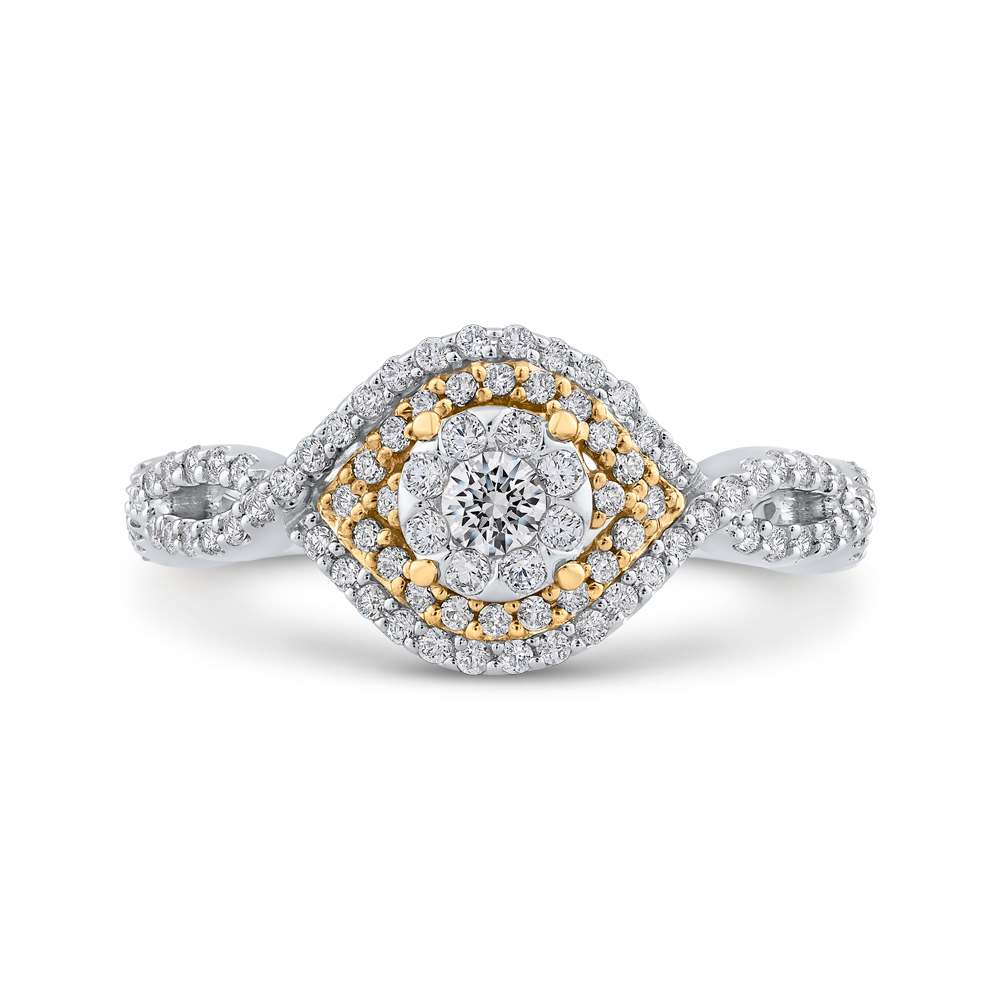 ES0912ECT-42WY Fine Jewelry Luminous by Carizza White Gold  Rose Gold  Yellow Gold Round Diamond Cluster Sets Fashion Rings
