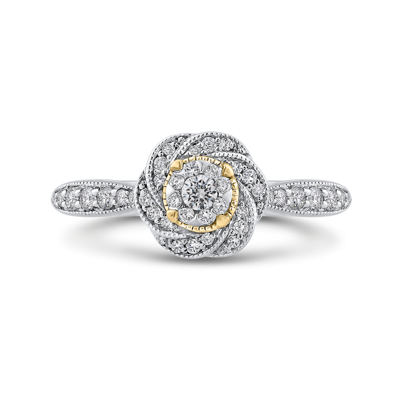 ES0913ECT-42WY Fine Jewelry Luminous by Carizza White Gold  Rose Gold  Yellow Gold Round Diamond Cluster Sets Fashion Rings