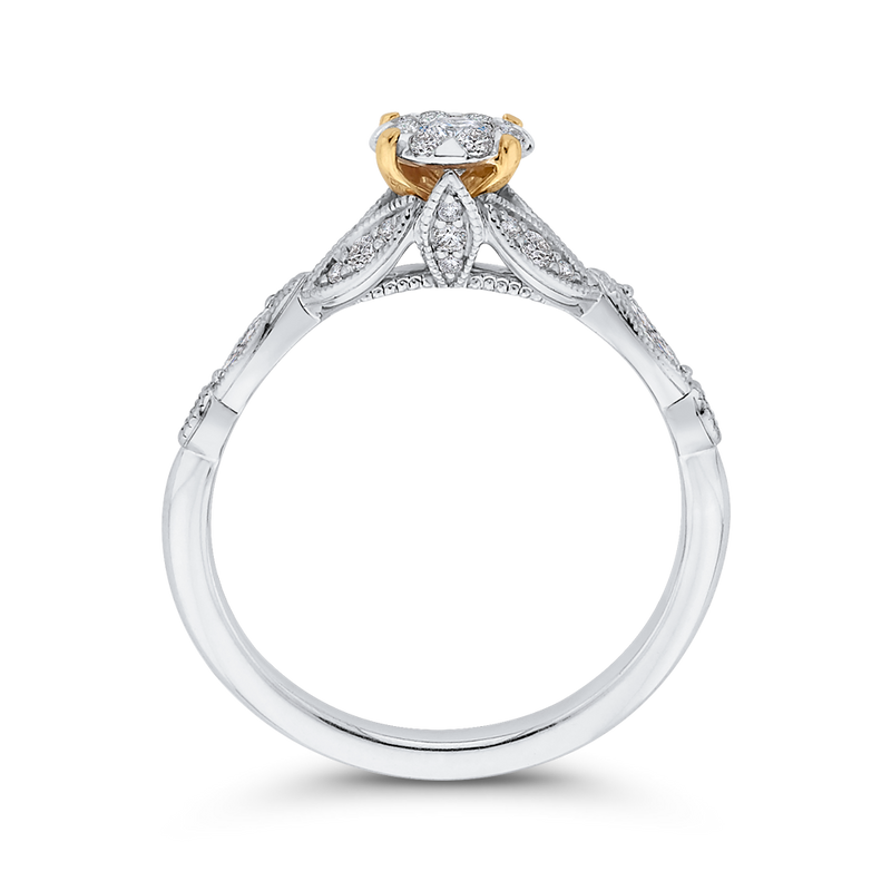 1/2 ct Round Diamond 10K Two Tone Gold Fashion Ring