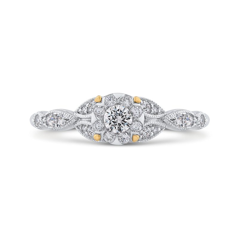 10K Two Tone Gold 1/2 ct Round White Diamond Flower Style Fashion Ring