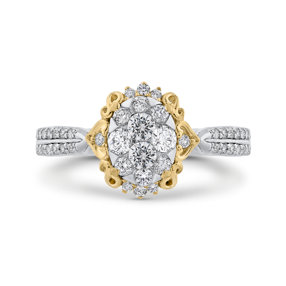 ESO0911ECT-42WY Fine Jewelry Luminous by Carizza White Gold  Rose Gold  Yellow Gold Round Diamond Cluster Sets Fashion Rings