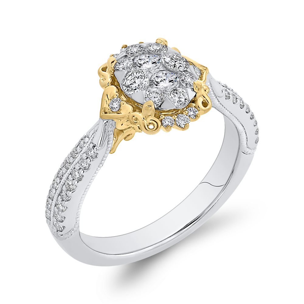 3/4 ct Round Diamond 10K Two Tone Gold Fashion Ring