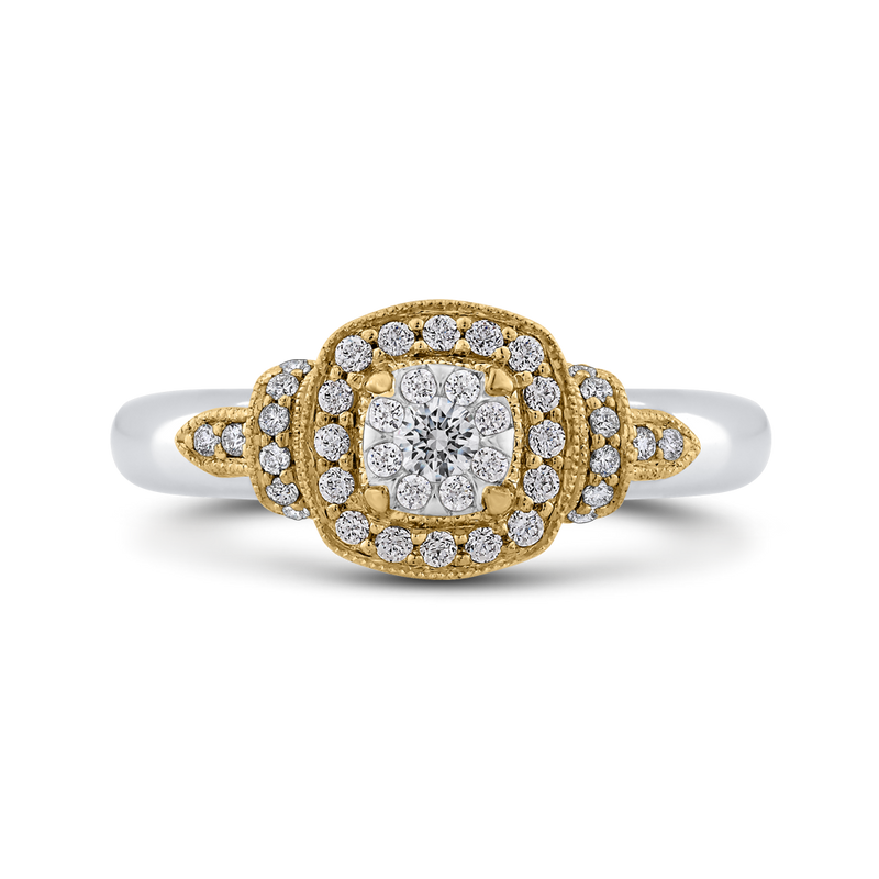 ESU0908ECT-42WY Fine Jewelry Luminous by Carizza White Gold  Rose Gold  Yellow Gold Round Diamond Cluster Sets Fashion Rings