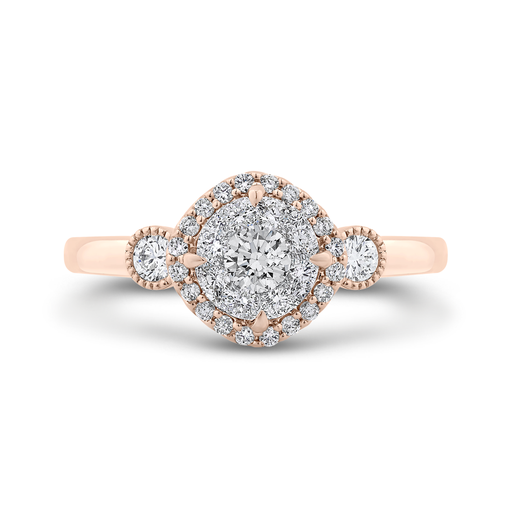 LUR0072-42PW-1.00 Bridal Jewelry Luminous by Carizza White Gold  Rose Gold  Yellow Gold Round Diamond Halo Engagement Rings