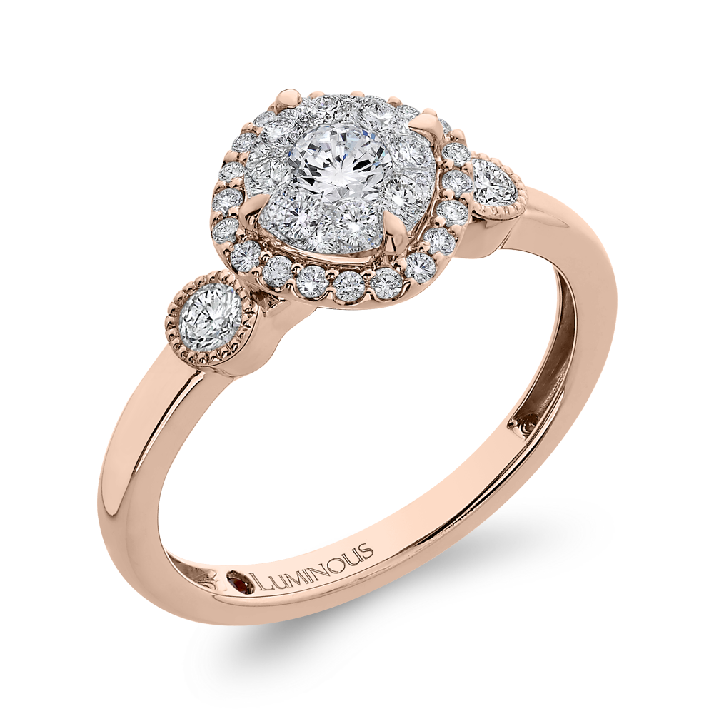 Round Diamond Halo Engagement Ring In 14K Two Tone Gold