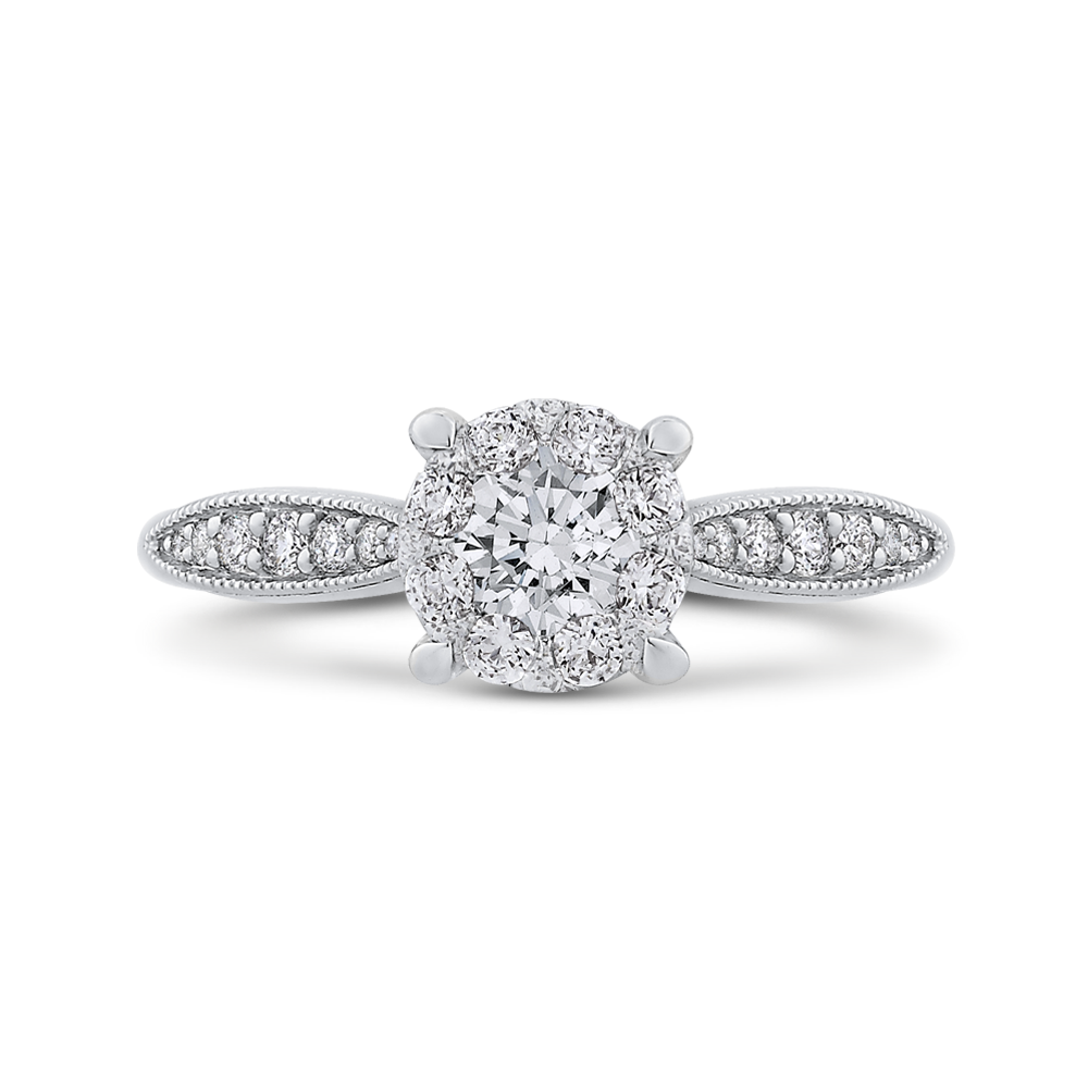 LUR0154-42W-1.50 Bridal Jewelry Luminous by Carizza White Gold Round Diamond  Engagement Rings