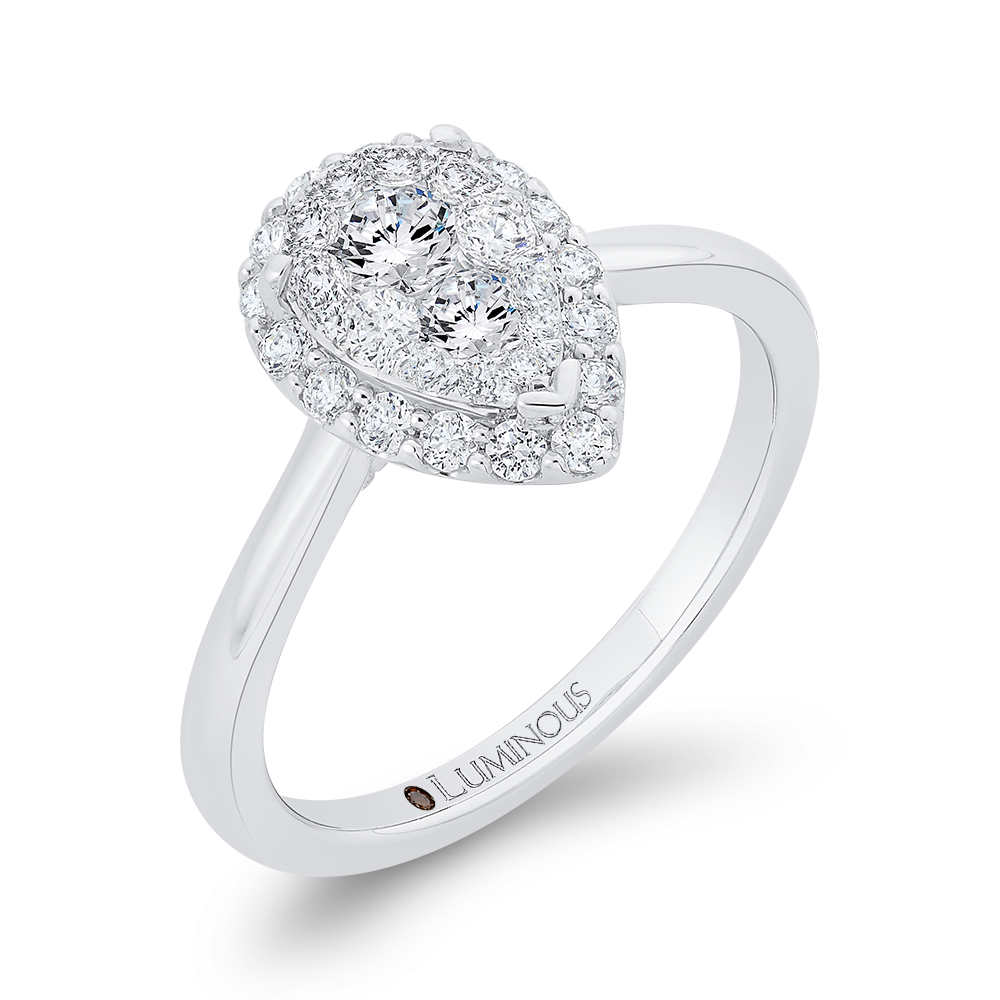 Round Diamond Pear Shape Halo Engagement Ring In 14K White Gold