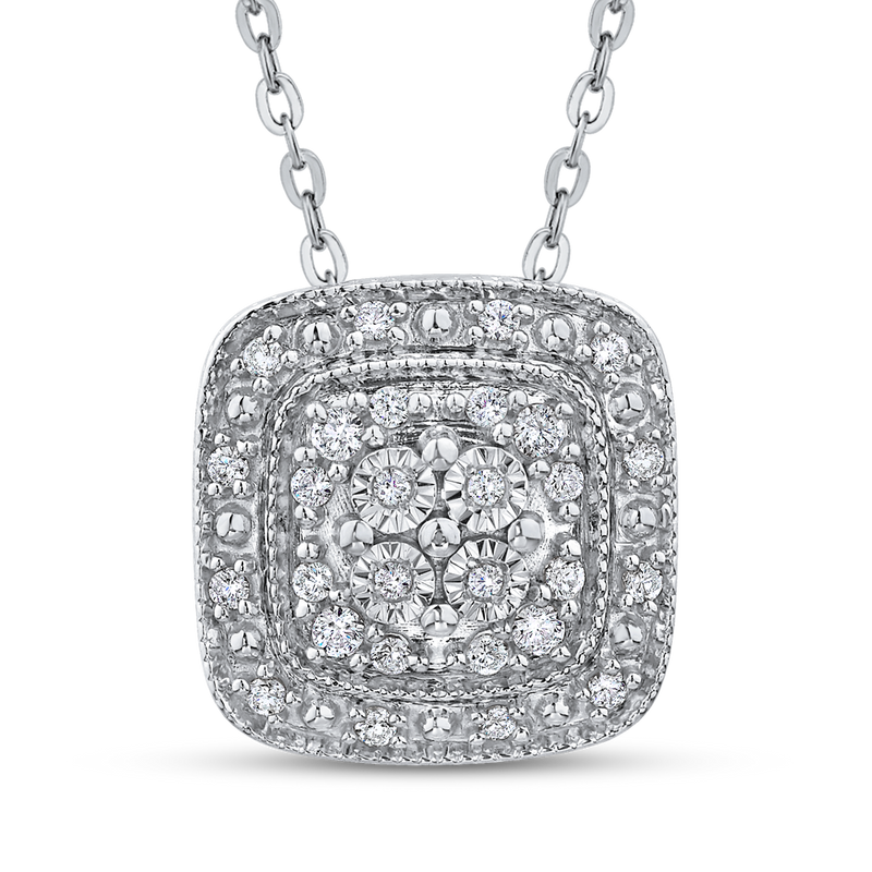 PE1088T-25W Fine Jewelry Luminous by Carizza White Gold  Diamond Cluster Sets Pendants  Necklaces