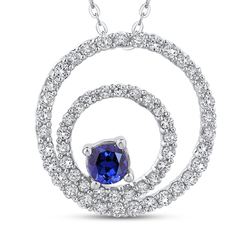 PE1133T-S04W Fashion Jewelry Carizza Fashion White Gold Gemstone Diamond Pendants Necklaces