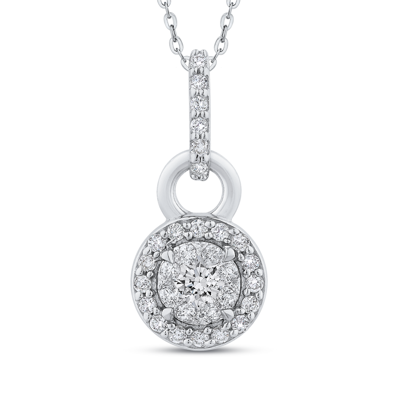 PE1156T-42W Fine Jewelry Luminous by Carizza White Gold  Diamond Cluster Sets Pendants  Necklaces