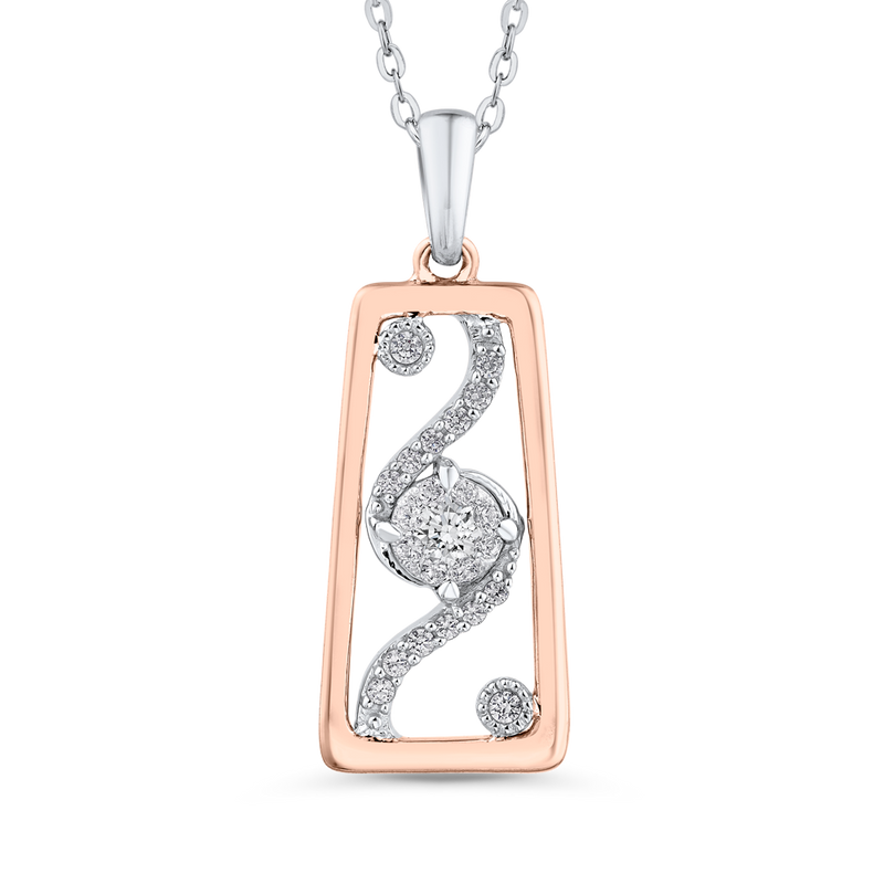 10K White & Rose Gold 3/8 Ct Diamond Fashion Pendant with Chain