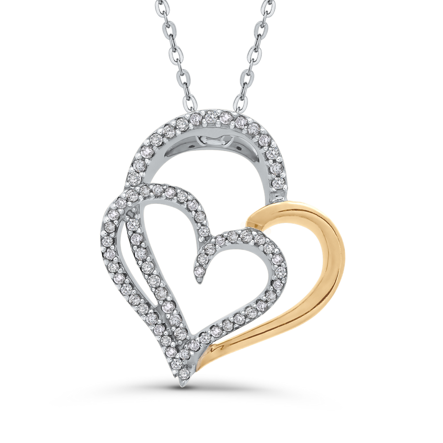 3d5bdcebbb784d 10K Two-Tone Gold Round 1/4 ct Diamond Double Heart Pendant with Chain |  Carizza Fashion | Carizza