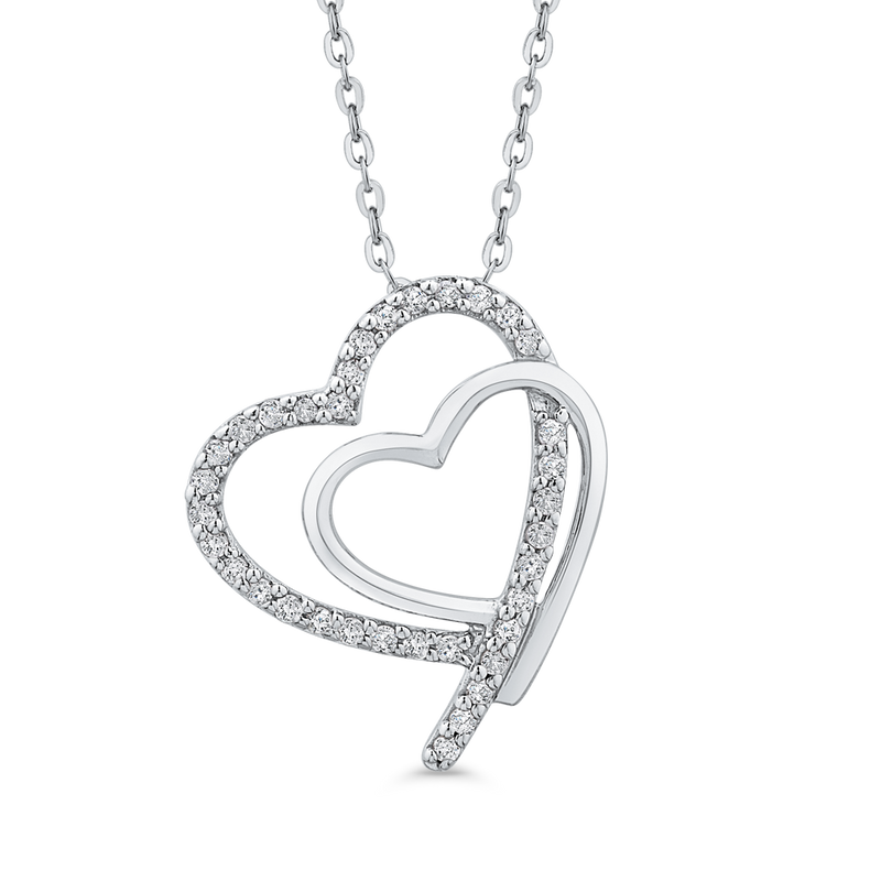 PH0193T-09W Fashion Jewelry Carizza Fashion White Gold Diamond Pendants Necklaces