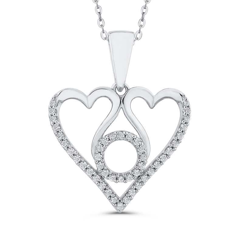 PH0239T-09W Fashion Jewelry Carizza Fashion White Gold Diamond Pendants Necklaces
