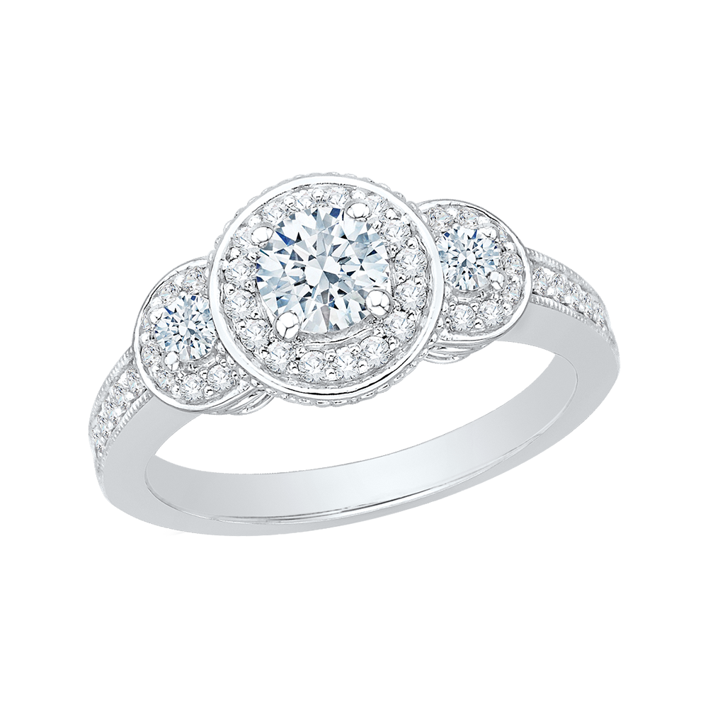 Round Cut Diamond Three Stone Halo Engagement Ring In 14K White Gold