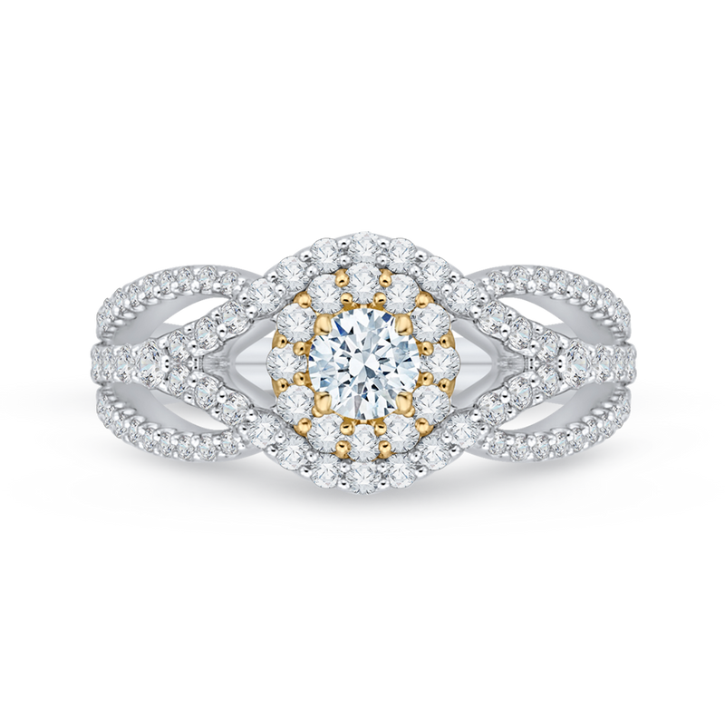 PR0076EC-02WY-.25 Bridal Jewelry Carizza White Gold  Rose Gold  Yellow Gold Round Diamond Halo Engagement Rings