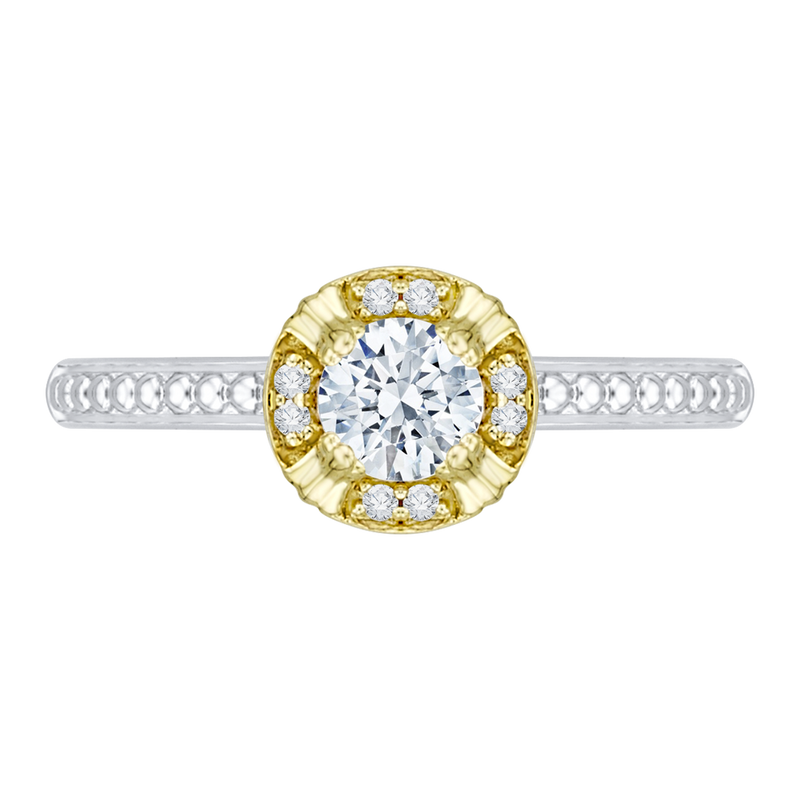 PR0080EC-44WY Bridal Jewelry Carizza White Gold  Rose Gold  Yellow Gold Round Diamond  Engagement Rings