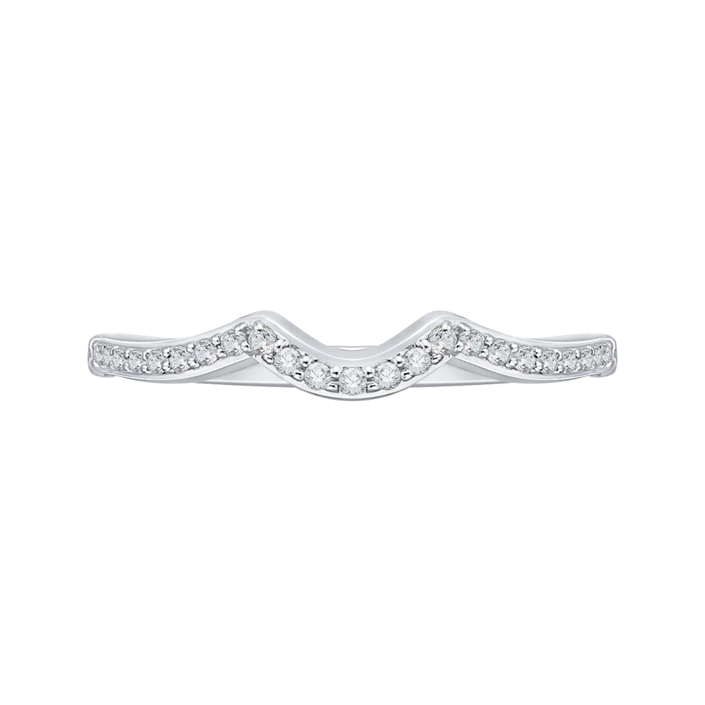PR0089B-44W Bridal Jewelry Carizza White Gold Round Diamond  Wedding Bands